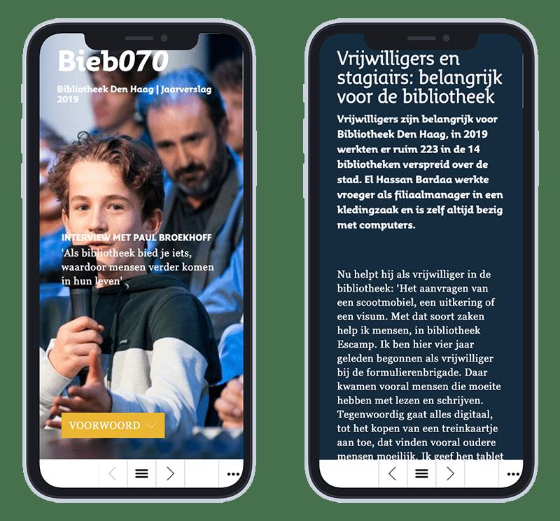 Mobiele versie online jaarverslag Bieb070