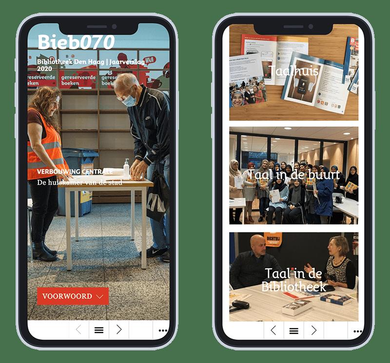 Mobiele versie online jaarverslag Bieb070 2020