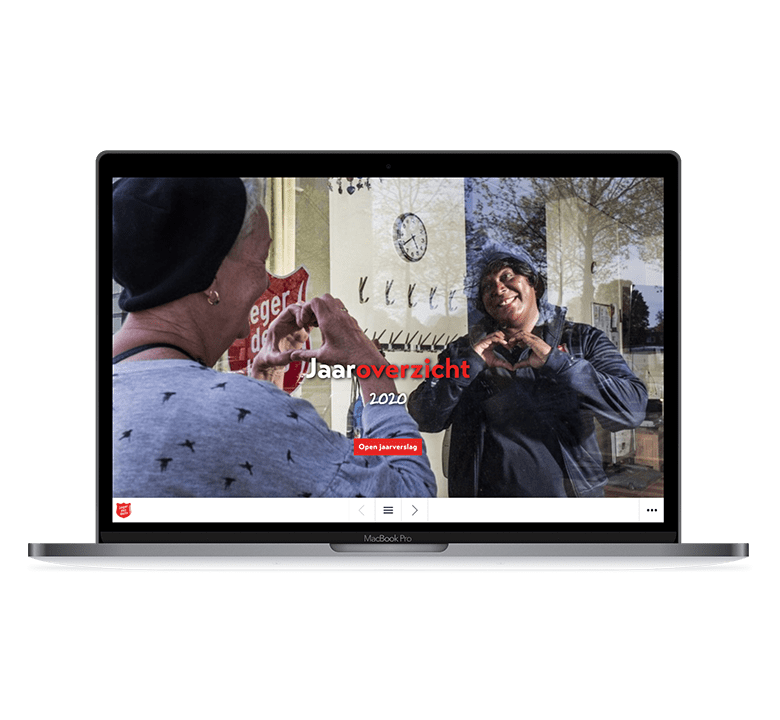 Desktop versie Leger des Heils online jaarverslag 2020