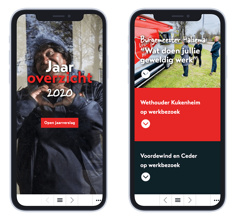Mobiele versie Leger des Heils online jaarverslag 2020