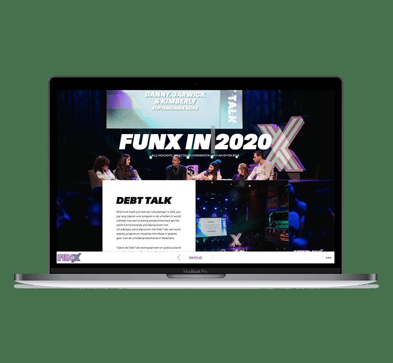 Desktop afbeelding FunX online jaarverslag 2020