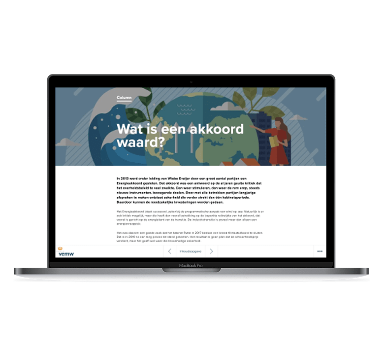 Desktop versie VEMW Inzicht - Een nieuwe kijk op water