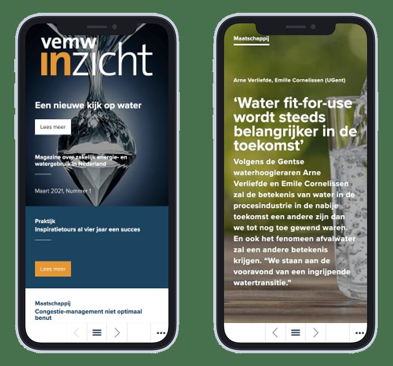 Mobiele versie VEMW Inzicht - Een nieuwe kijk op water